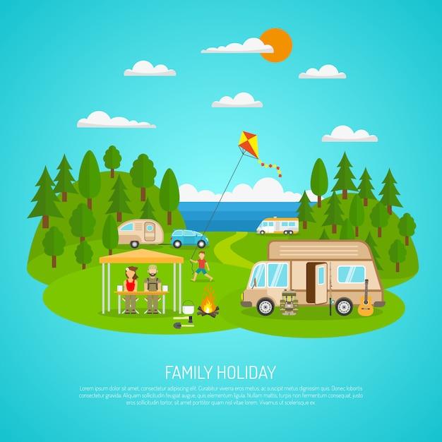 Familien-kampierende illustration Kostenlosen Vektoren