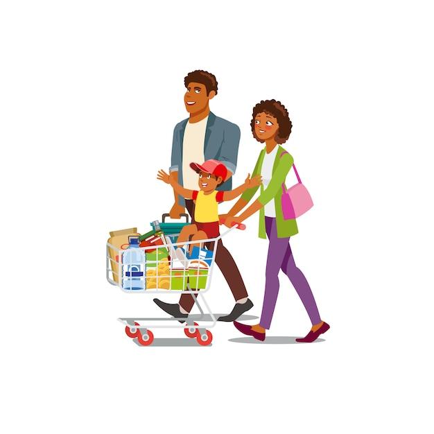 Familien-kaufendes lebensmittel im gemischtwarenladen-karikatur-vektor Premium Vektoren
