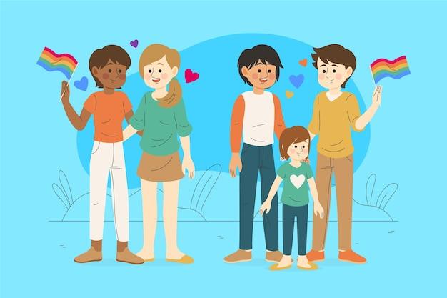 Familien mit kindern feiern stolz tag Kostenlosen Vektoren