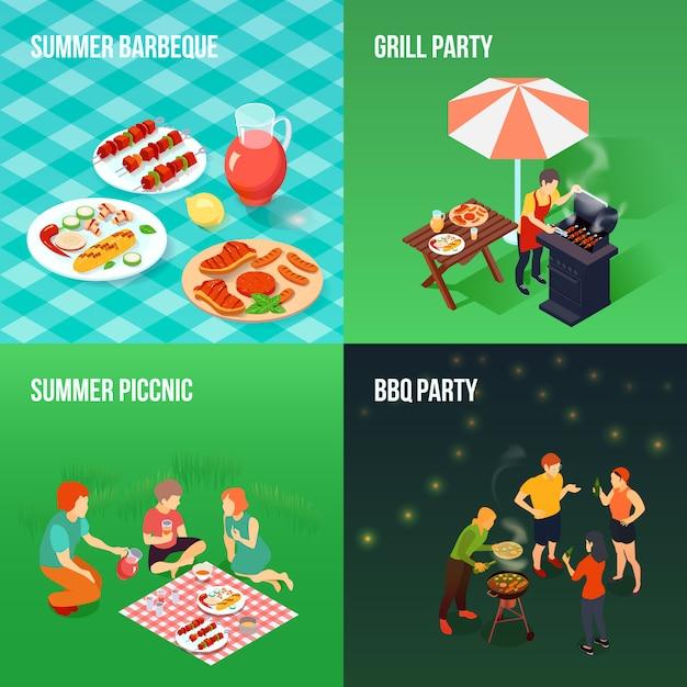 Familien-picknick-isometrisches konzept Kostenlosen Vektoren