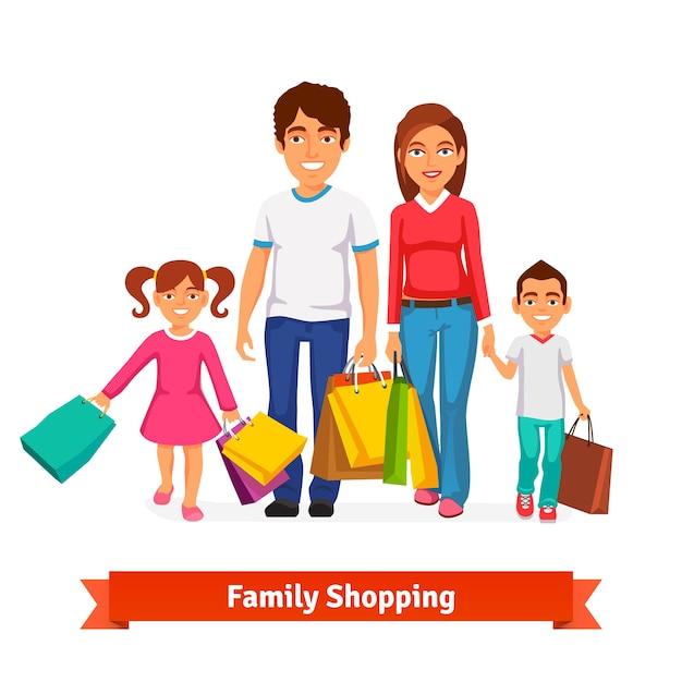 Familien-shopping flat-stil vektor-illustration Kostenlosen Vektoren