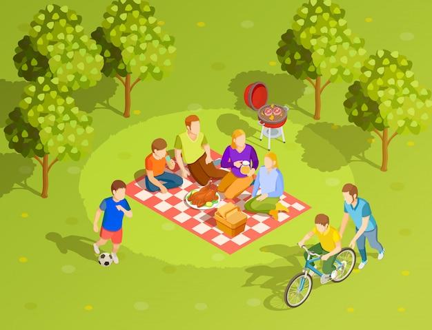 Familien-sommer-landschafts-picknick-isometrische ansicht Kostenlosen Vektoren