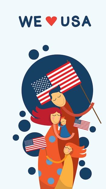 Familien-umarmungs-vereinigte staaten von amerika unabhängigkeitstag Premium Vektoren