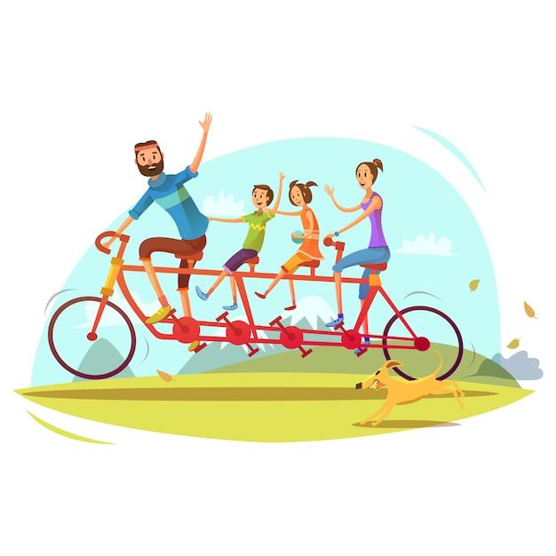 Familien- und fahrradkarikaturkonzept mit elternsohn und tochter vector illustration Kostenlosen Vektoren