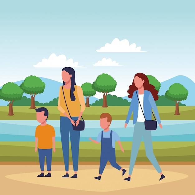 Familien- und kinder-cartoon Premium Vektoren