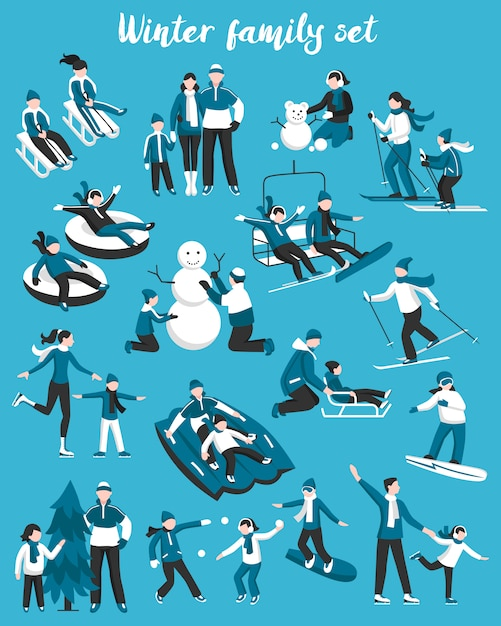 Familien-winterferien-set Kostenlosen Vektoren