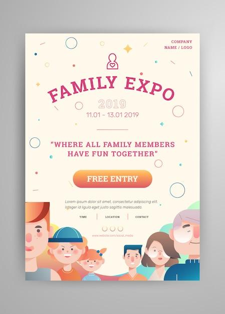 Familienausstellung mit eltern und avatar-plakat-layout der kinder Premium Vektoren