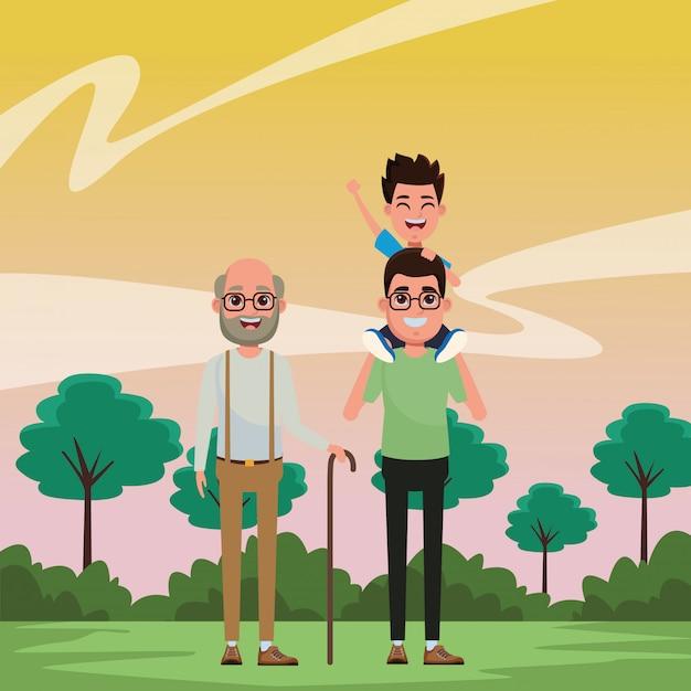 Familienavatara-zeichentrickfilm-figur-porträt Kostenlosen Vektoren