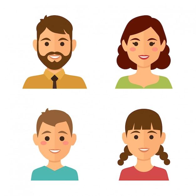 Familienavatare Premium Vektoren