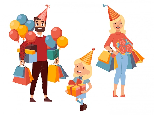 Familieneinkäufe für geburtstagsgeschenke, Premium Vektoren