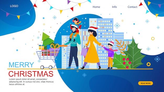 Familieneinkaufen auf weihnachtsverkaufs-vektor-website Premium Vektoren