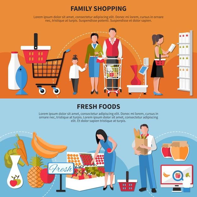 Familieneinkaufen und fahnensatz der frischen nahrungsmittel Kostenlosen Vektoren