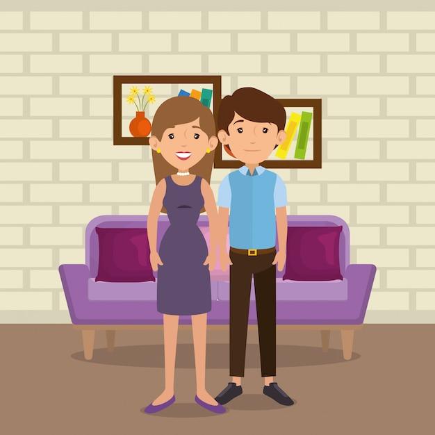 Familieneltern in der wohnzimmerszene Kostenlosen Vektoren