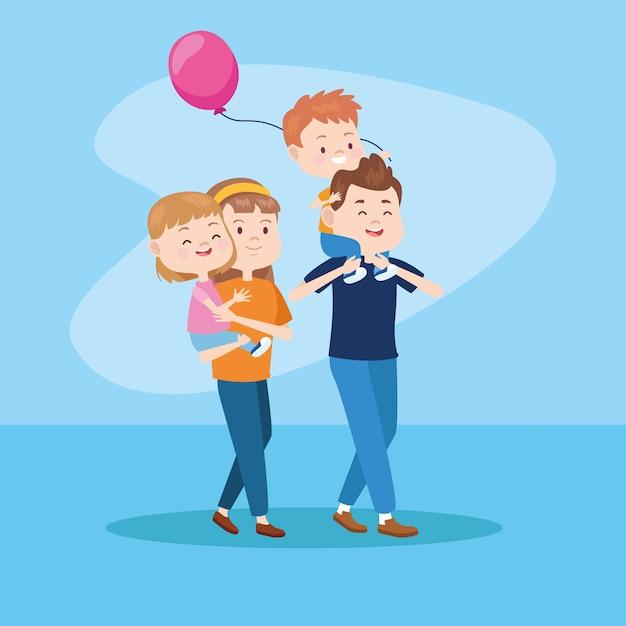 Familieneltern und kinder cartoons Premium Vektoren
