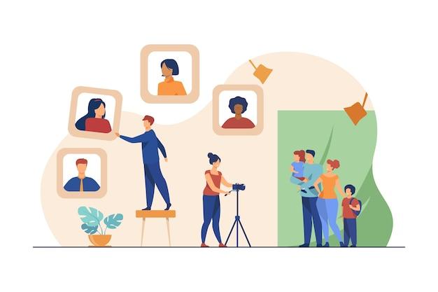 Familienfoto im fotostudio. flache vektorillustration des porträts, der kamera, des fotografen. fotografie und ausdruck Kostenlosen Vektoren