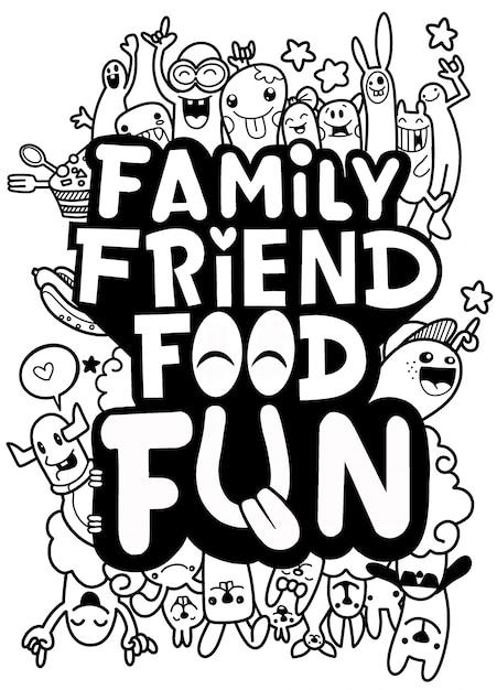 Familienfreund-lebensmittelpostkarte. lustiges zitat über das leben: typografie-druck für t-shirt design Premium Vektoren
