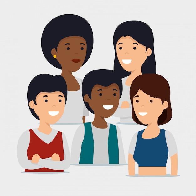 Familiengemeinschaft und soziale zusammenarbeit Kostenlosen Vektoren