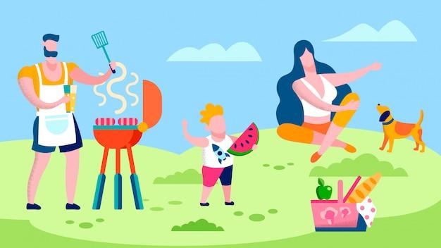 Familiengrill in der landschafts-flachen illustration Premium Vektoren