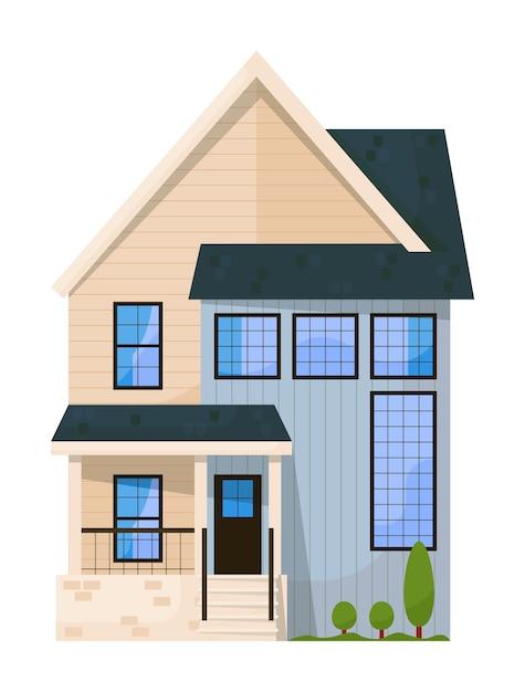 Familienhaushausfassade lokalisiert auf weißem hintergrund Premium Vektoren