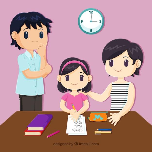 Familienhintergrund, der verschiedene tätigkeiten tut Kostenlosen Vektoren