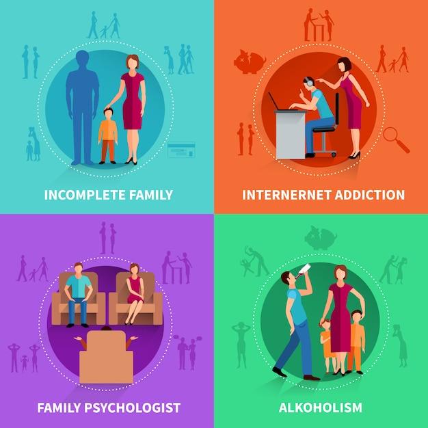 Familienkonflikt-konzept-satz Kostenlosen Vektoren