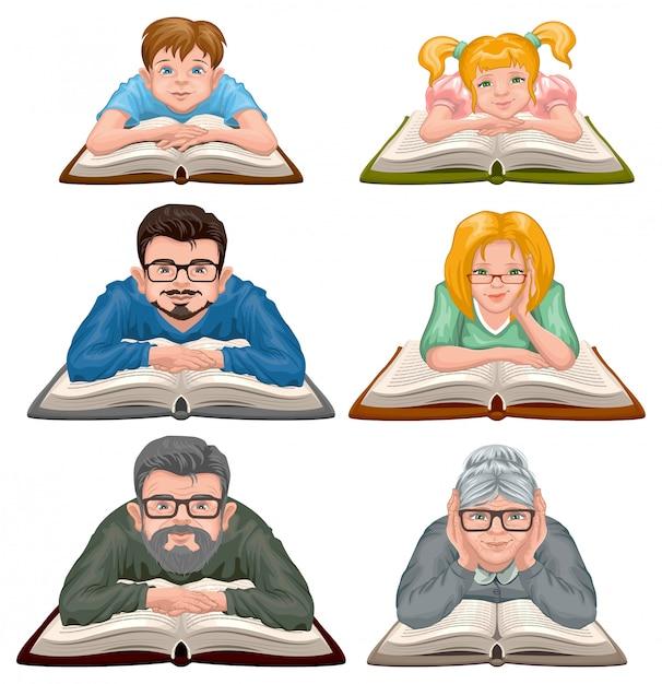 Familienlesebuch. stellen sie leute ein, die buch lesen Premium Vektoren