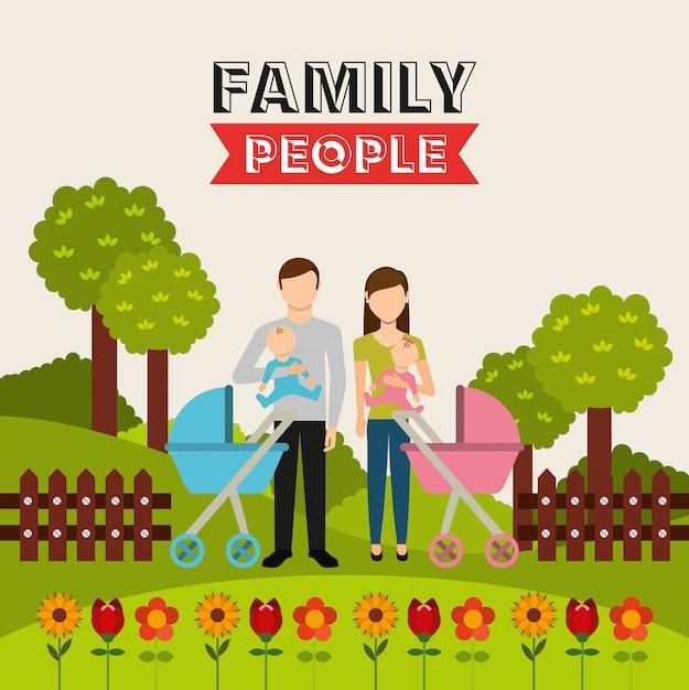 Familienleute entwerfen Kostenlosen Vektoren