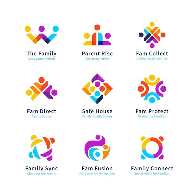 Familienlogo-sammlung Premium Vektoren