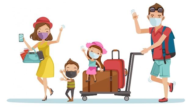 Familienmaskenreise am flughafen. glückliche familientouristengruppe. eltern und kinder auf reisen. neues normalkonzept. Premium Vektoren