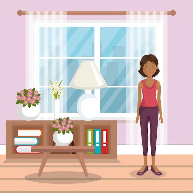 Familienmitglied im wohnzimmer Kostenlosen Vektoren