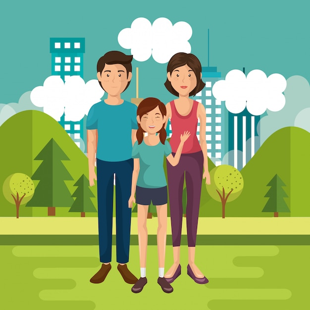 Familienmitglieder außerhalb des hauses Kostenlosen Vektoren