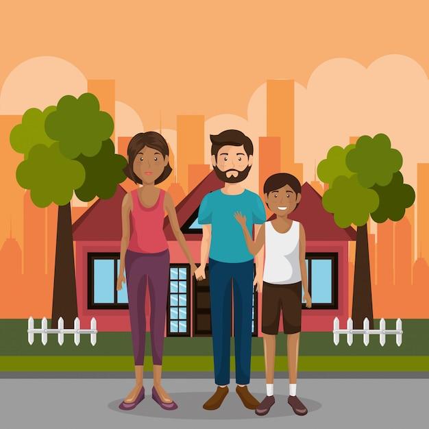 Familienmitglieder im freien zeichen Kostenlosen Vektoren