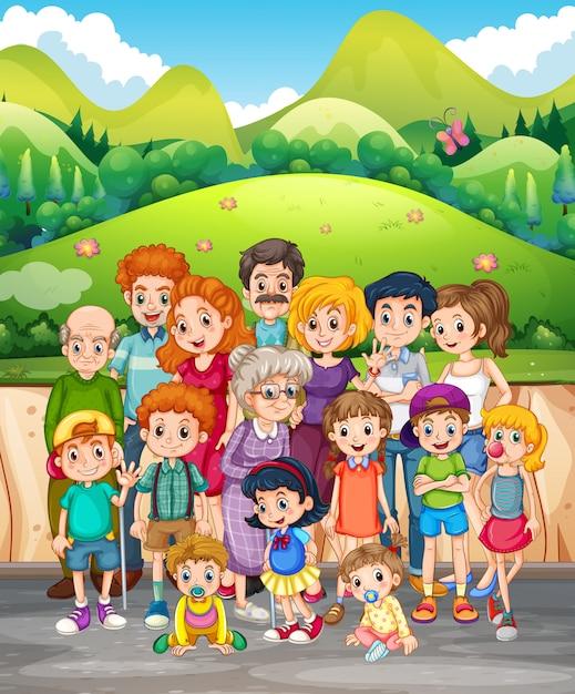 Familienmitglieder im park Premium Vektoren