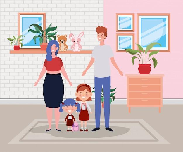 Familienmitglieder in der hausplatzszene Kostenlosen Vektoren