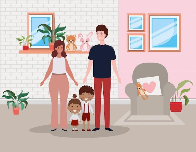 Familienmitglieder in der wohnzimmerhausszene Kostenlosen Vektoren