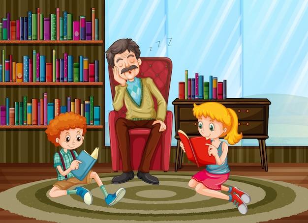 Familienmitglieder lesen im wohnzimmer Kostenlosen Vektoren
