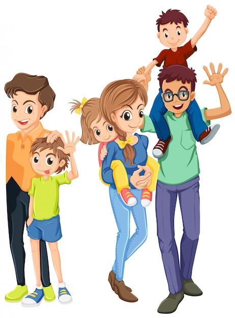 Familienmitglieder mit glücklichen gesichtern Kostenlosen Vektoren