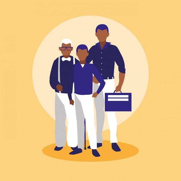 Familienmitglieder zusammen zeichen Premium Vektoren