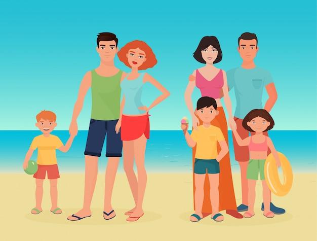 Familienpaare mit kindern am meeresstrand Premium Vektoren