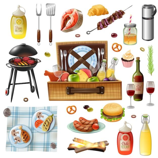 Familienpicknick-grill-realistische ikonen eingestellt Kostenlosen Vektoren
