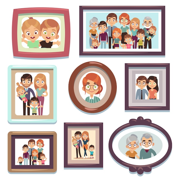 Familienporträtfotos. bilder menschen fotorahmen glückliche charaktere verwandte dynastie eltern kinder beziehung, flache vorlage Premium Vektoren