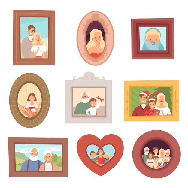 Familienporträts. fotos von kindern und eltern mutter vater und großeltern glückliches lächeln gesichter sammlung set. Premium Vektoren