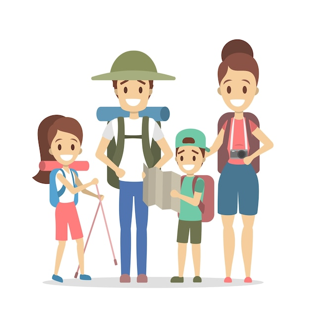 Familienreisen. glückliche eltern und kinder, die in die sommerferien gehen. menschen mit unterschiedlicher ausrüstung für camping: rucksack, kamera und karte. illustration Premium Vektoren