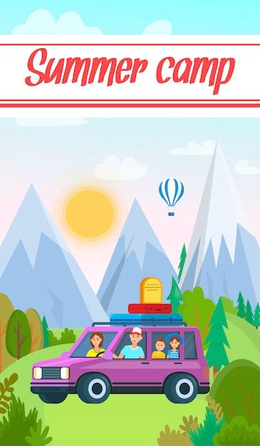 Familienreisen im transportfahrzeug mit gepäck Premium Vektoren