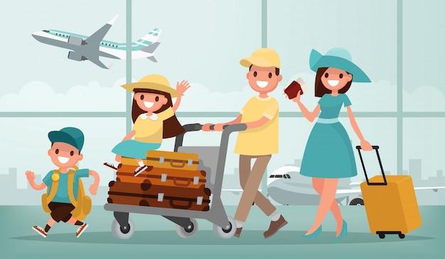 Familienreisen. vater mutter, sohn und tochter am flughafen. illustration in einem flachen stil Premium Vektoren