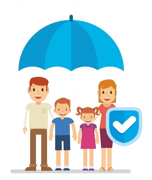 Familienschutz mit versicherung, um die zukunft zu sichern Premium Vektoren