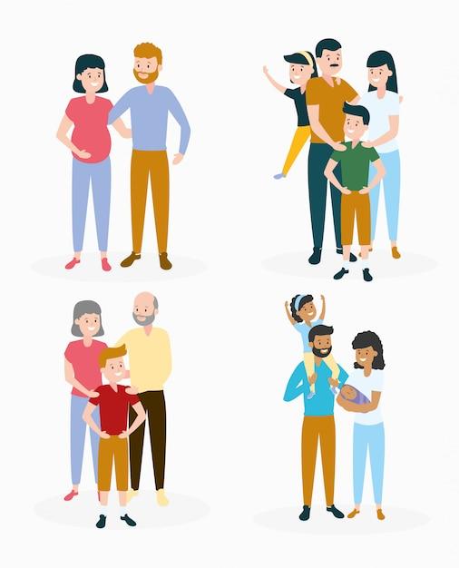 Familienset Kostenlosen Vektoren