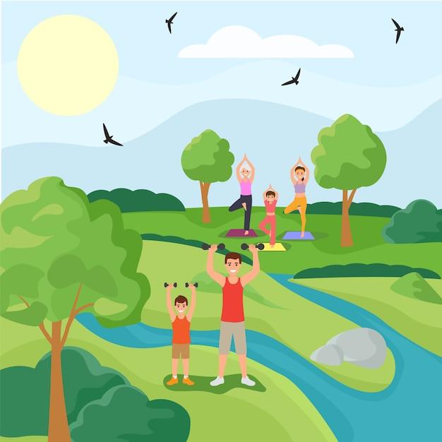 Familiensportcharakter vater sohn trainingsübung, frau üben yoga wald park flache vektor-illustration. nationaler garten im freien. Premium Vektoren