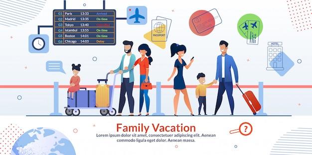 Familienurlaub-flugzeug-reisendes anzeigen-plakat Premium Vektoren