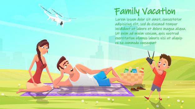 Familienurlaub, glückliche mitglieder auf picknick-banner Premium Vektoren